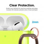 Elago Airpods Pro TPU Hang Case - силиконов калъф с карабинер за Apple Airpods Pro (жълт-фосфор) 3