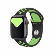 Apple Watch Nike Sport Band - оригинална силиконова каишка за Apple Watch 38мм, 40мм (черен-зелен)  1
