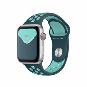 Apple Watch Nike Sport Band - оригинална силиконова каишка за Apple Watch 38мм, 40мм (тъмнозелен-син)  1