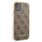 Guess 4G Collection Leather Hard Case - дизайнерски кожен кейс за iPhone 11 Pro (бежов) 2