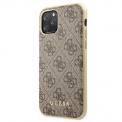 Guess 4G Collection Leather Hard Case - дизайнерски кожен кейс за iPhone 11 Pro (бежов) 1