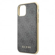 Guess 4G Collection Leather Hard Case - дизайнерски кожен кейс за iPhone 11 Pro (сив) 4