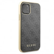 Guess 4G Collection Leather Hard Case - дизайнерски кожен кейс за iPhone 11 Pro (сив) 2