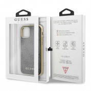 Guess 4G Collection Leather Hard Case - дизайнерски кожен кейс за iPhone 11 Pro (сив) 6