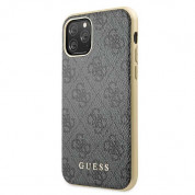 Guess 4G Collection Leather Hard Case - дизайнерски кожен кейс за iPhone 11 Pro (сив) 1