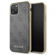 Guess 4G Collection Leather Hard Case - дизайнерски кожен кейс за iPhone 11 Pro (сив)