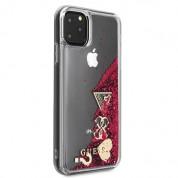 Guess Glitter Hard Case - дизайнерски кейс с висока защита за iPhone 11 Pro Max (червен) 2