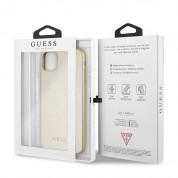 Guess Iridescent Leather Hard Case - дизайнерски кожен кейс за iPhone 11 Pro Max (златист) 6