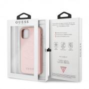 Guess Saffiano 4G Circle Logo Leather Hard Case - дизайнерски кожен кейс за iPhone 11 Pro Max (розов) 6