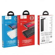 Hoco J50 Surf Power Bank 10000mAh - външна батерия с USB изход и с технология за безжично зареждане (бял) 5