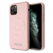 Guess Saffiano 4G Circle Logo Leather Hard Case for iPhone 11 Pro (rose gold)