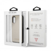 Guess Iridescent Leather Hard Case - дизайнерски кожен кейс за Samsung Galaxy S20 (златист) 6