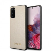 Guess Iridescent Leather Hard Case - дизайнерски кожен кейс за Samsung Galaxy S20 (златист)