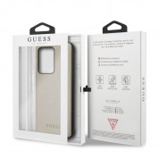 Guess Iridescent Leather Hard Case - дизайнерски кожен кейс за Samsung Galaxy S20 Ultra (златист) 6