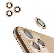 USAMS Metal Camera Lens Glass Film for Apple iPhone 11 Pro Max (gold)