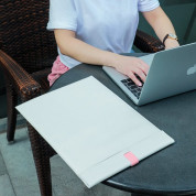 Baseus Lets Go Traction Laptop Sleeve (LBQY-A24) - кожен калъф за MacBook Pro 13, MacBook Air 13 и лаптопи до 13 инча (бял) 7