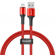 Baseus Halo USB Lightning Cable (CALGH-D09) - Lightning USB кабел за Apple устройства с Lightning порт (25 см) (червен)