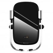 Baseus Rock Solid Wireless Charger Car Mount - поставка за радиатора на кола с безжично зареждане за Qi съвместими смартфони (сребрист) 1