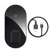 Baseus Simple Pro 2in1 Wireless Charger (WXJK-C01) - двойна поставка (пад) с Fast Charge технология за безжично зареждане за Qi съвместими устройства и Apple Airpods Pro (черен)