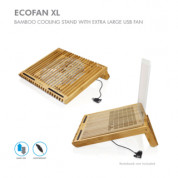 Macally EcoFanXL bamboo cooling stand with USB fan for Laptop computer 5