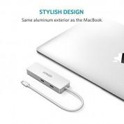 Anker Premium USB-C Hub With Ethernet And Power Delivery - мултифункционален хъб за свързване на допълнителна периферия за компютри с USB-C (сребрист)  6