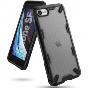 Ringke Fusion X Case - хибриден удароустойчив кейс за iPhone SE (2020), iPhone 8, iPhone 7 (черен-карбон)
