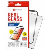 Displex Real Glass 10H Protector 3D Full Cover FPS - калено стъклено защитно покритие с поддръжка на сензора за отпечатъци за дисплея на Samsung Galaxy S20, Galaxy S20 5G (черен-прозрачен)