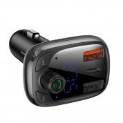 Baseus T-Typed Bluetooth FM Transmitter CCTM-B01 - блутут FM трансмитер и зарядно за кола за мобилни устройства (черен) 1
