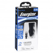 Energizer Dual USB Car Charger 3.4A with MFI Lightning Cable - зарядно за кола с 2xUSB изходa (3.4A) и Lightning кабел за iPhone, iPad и iPod с Lightning порт (черен) 2