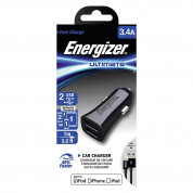Energizer Dual USB Car Charger 3.4A with MFI Lightning Cable - зарядно за кола с 2xUSB изходa (3.4A) и Lightning кабел за iPhone, iPad и iPod с Lightning порт (черен) 3