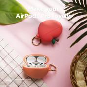 Elago Airpods Pro Peach Design Silicone Case - силиконов калъф с карабинер за Apple Airpods Pro (оранжев) 4