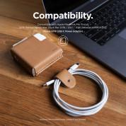Elago MacBook Charger Leather Cover - кожен калъф (естествена кожа) за Apple USB-C 87W захранване (кафяв) 3