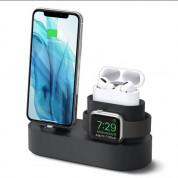Elago Trio Charging Hub Pro - силиконова поставка за зареждане на iPhone, Apple Watch и Apple AirPods Pro (черна)