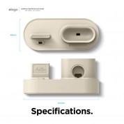 Elago Trio Charging Hub Pro - силиконова поставка за зареждане на iPhone, Apple Watch и Apple AirPods Pro (бяла) 6