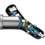 Baseus Y-Type 3.4A Car Charger 2xUSB and Extended Cigarette Lighter Port (black) 4