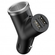 Baseus Y-Type 3.4A Car Charger 2xUSB and Extended Cigarette Lighter Port (black)