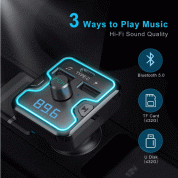 TeckNet Bluetooth 5.0 FM Transmitter EBH01045 5V/2.4A Dual USB Car Charger Wireless Handsfree Audio Receiver Auto MP3 Player USB Charger (black) 3