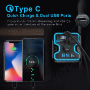 TeckNet Bluetooth 5.0 FM Transmitter EBH01045 5V/2.4A Dual USB Car Charger Wireless Handsfree Audio Receiver Auto MP3 Player USB Charger (black) 1