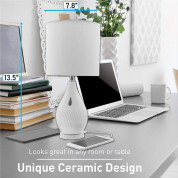 Macally Ceramic LED Table Lamp with 2 Port USB-A Charger (white) 7