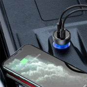 Baseus Digital Display Dual Quick Car Charger 65W incl.100 W USB-C to USB-C Cable 10