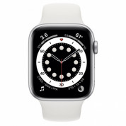 Apple Watch Series 6 GPS, 44mm Silver Aluminium Case with White Sport Band - умен часовник от Apple  1