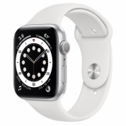 Apple Watch Series 6 GPS, 44mm Silver Aluminium Case with White Sport Band - умен часовник от Apple