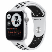 Apple Watch Nike Series 6 GPS, 44mm Silver Aluminium Case with Pure Platinum/Black Nike Sport Band - умен часовник от Apple