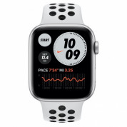 Apple Watch Nike Series 6 GPS, 44mm Silver Aluminium Case with Pure Platinum/Black Nike Sport Band - умен часовник от Apple  1