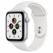 Apple Watch SE GPS, 44mm Silver Aluminium Case with White Sport Band - умен часовник от Apple