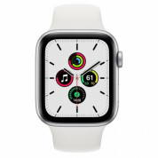 Apple Watch SE GPS, 44mm Silver Aluminium Case with White Sport Band - умен часовник от Apple  1