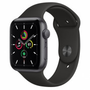 Apple Watch SE GPS, 44mm Space Gray Aluminium Case with Black Sport Band - умен часовник от Apple