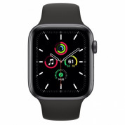 Apple Watch SE GPS, 44mm Space Gray Aluminium Case with Black Sport Band - умен часовник от Apple  1