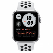 Apple Watch Nike SE GPS, 44mm Silver Aluminium Case with Pure Platinum/Black Nike Sport Band - умен часовник от Apple  1