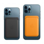 Apple iPhone Leather Wallet with MagSafe - оригинален кожен портфей (джоб) за прикрепване към iPhone 12, iPhone 12 Pro, iPhone 12 Pro Max, iPhone 12 (син) 2